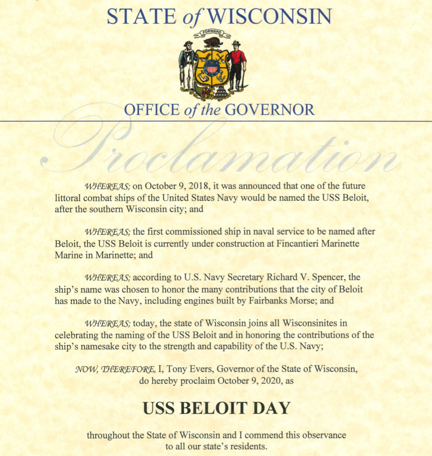October 9 Proclaimed USS Beloit Day in Wisconsin
